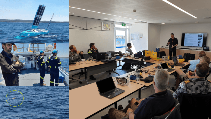 This activity involved two Autonomous Underwater Vehicle (AUVs), a Bluebottle Unmanned Surface Vessel (USV), support boats, support personnel and observers - photos courtesy of 3ME Technology