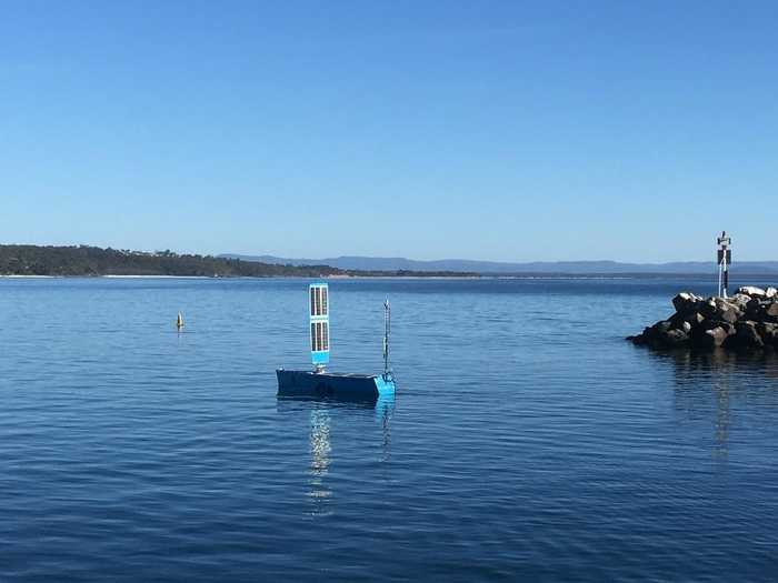 Bluebottle USV 'Bob' setting off to persistently monitor Autonomous Underwater Vehicles (AUVs)